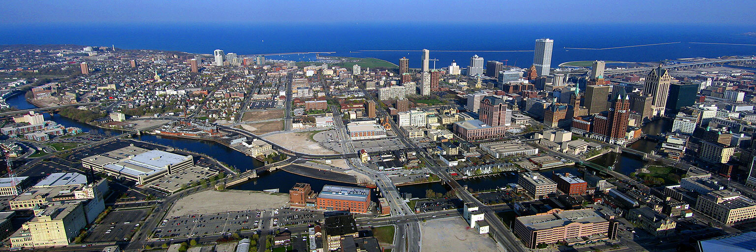 sky-view of Downtown Milwaukee