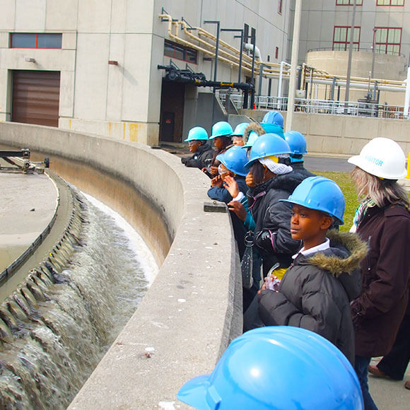 Students at a tour at Jones Island Wastewater Treatment Plant