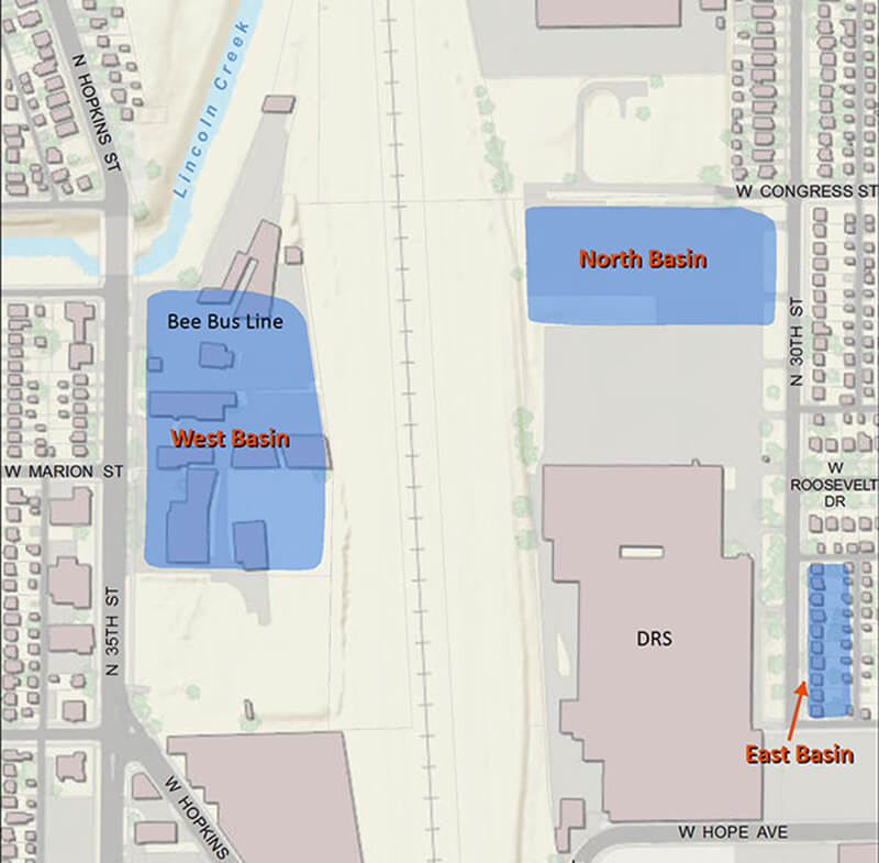Planned Basins for 30th St. Corridor