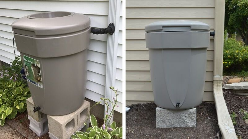 Finished MMSD tan rain barrel