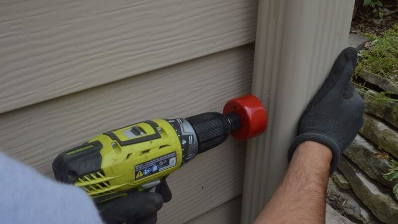 Drill the Downspout for MMSD Rain Barrel