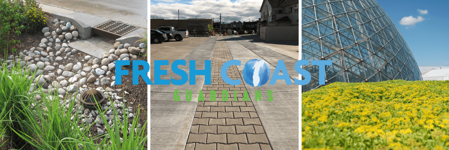 Examples of a Bioswale, Porous Pavement, and Green Roof