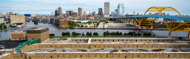 Jones Island Wastewater Treatment Plant and view of Milwaukee