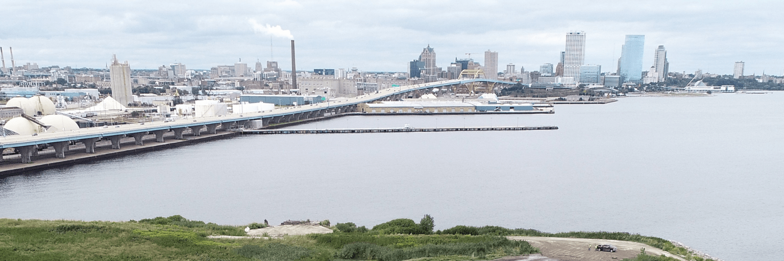 MMSD dredged materials management facility and milwaukee skyline